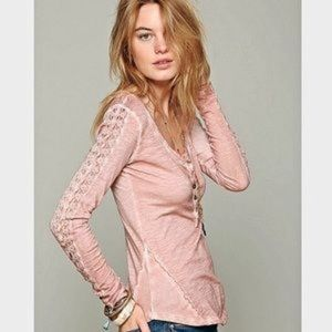 Free People Lace Long Sleeve Henley Top C8
